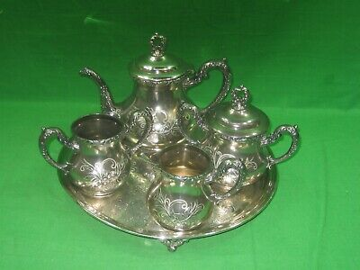 Vintage Five (5) Piece Silver Plated Teapot Set By Wallace Bros Silver Company