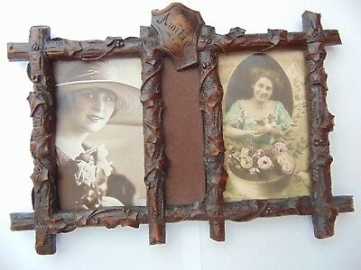 Antique Black Forest Hand Carved Wood Double Picture Photo Frame 'Amitie'