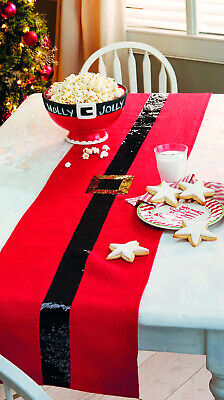 Mud Pie MH6 Holiday Christmas Kitchen Dining Santa Belt Sequin Runner 4264222