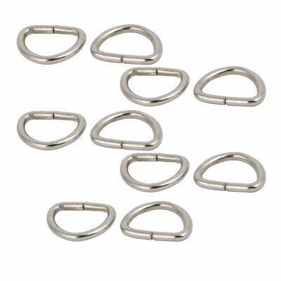 12mm Inner Width Iron Metal Half Round Non Welded D Ring Silver Tone 10pcs