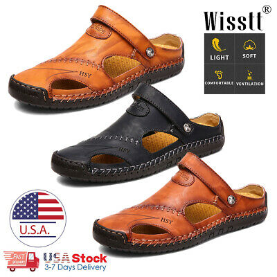 Men's Sport Close Toe Sandals Summer Leather Shoes Beach Fisherman Flat Slippers