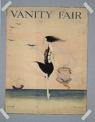 Woman dancing on the shore,1916,Vanity Fair,Summer Dress,Seashore,Caged Bird