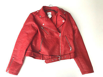 Sexy Biker Red jacket XL Rot manteau veste kunstleder jacke CD TV belt perfecto