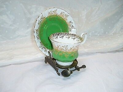 """Royal Albert Regal Series Tea Cup & Saucer Lime Green, White & Gold Pattern"""