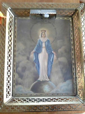 VTG Framed Illuminated Virgin Mary Conceived Without Sin Pray for Us Wall / Desk