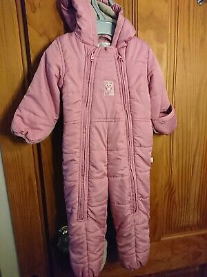 904e8f242 Avenue Baby Girls Fleece Lined Winter Snowsuit Foldover Mits/boots 9-12M