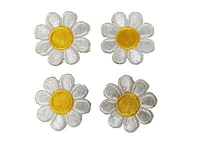 """2987SW Lot 4 pcs 1"""" White Yellow Daisy Flower Embroidery Iron On Applique Patch"""
