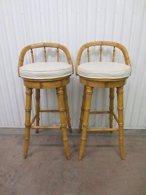 Pair Faux Bamboo Bar stools 2 Island Hollywood Regency Swivel Tall Bar Chairs