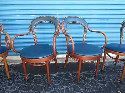 Pair Chairs Bentwood Captain Mid-century Bistro 2 Thonet STY BLUE Dining Modern