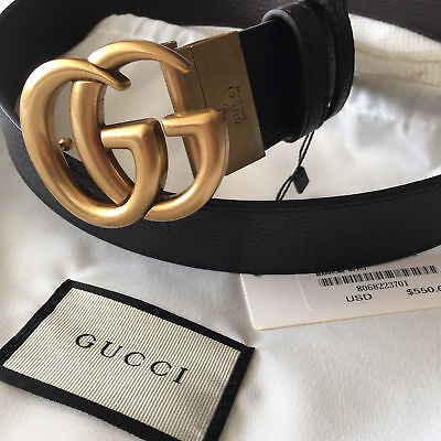 041aed03d32b Reversible GUCCI Belt GOLD GG Marmont Buckle BLACK   BROWN size 85 34 fits  28