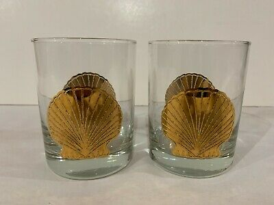 Two (2) Culver Gold Trimmed Sea Shell Double Old Fashioned / Rocks Glasses