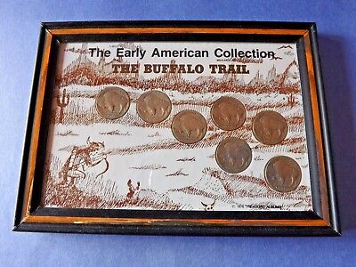 COINS=7 NICKLES- THE BUFFALO TRAIL *THE AMERICAN COLLECTION* 5x7 GLASS/FRAME=NIB