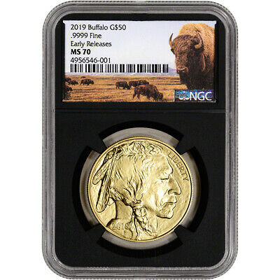 2019 American Gold Buffalo 1 oz $50 - NGC MS70 Early Releases Bison Label Black