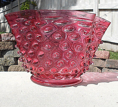 """Antique Cranberry Hobnail Oil/Electric Lamp/Light Shade~4 7/8"""" Fitter~Mp4"""