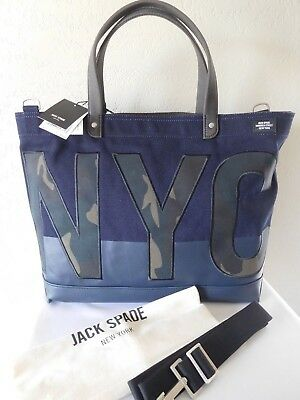 fd963113d NWT JACK SPADE NYC Bridges Dipped Coal Bag Canvas Tote Men's Retail ...