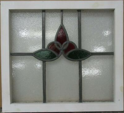 "OLD ENGLISH LEADED STAINED GLASS WINDOW Awesome Abstract Floral 21.75"" x 19.5"""
