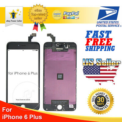 Black iPhone 6 Plus LCD Display Touch Screen Digitizer Frame Replacement A1522
