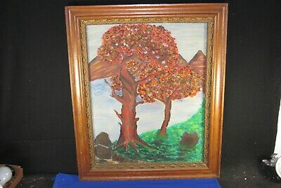 """Antique Oak-Gold Gild Floral Ornate Picture Frame 21""""x 25"""",1800's,+Tree Painting"""
