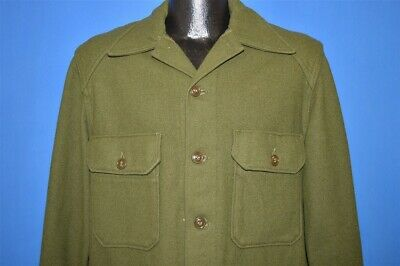 vintage 50s OLIVE DRAB GREEN WOOL US MILITARY SHIRT JAC TAPERED MEDIUM M