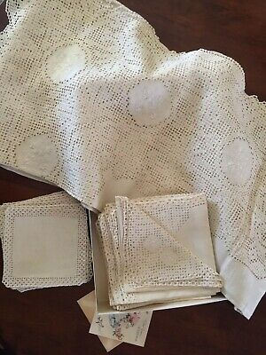 Vintage Fine Handmade Embroidered Venician Table Set Luxury Linens Tablecloth