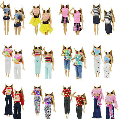 5 Outfits Random Blouses Pants Fashion Dress Clothes For 12 in. Doll Accessories