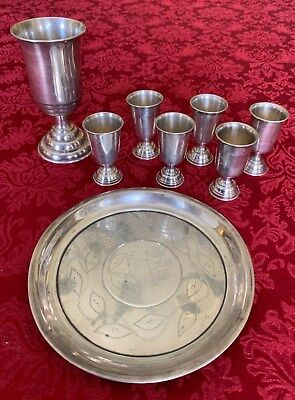 Vtg Silver/Sterling KIDDUSH CUP Set JUDAICA Russian 84P+Other MARKS 8Pcs