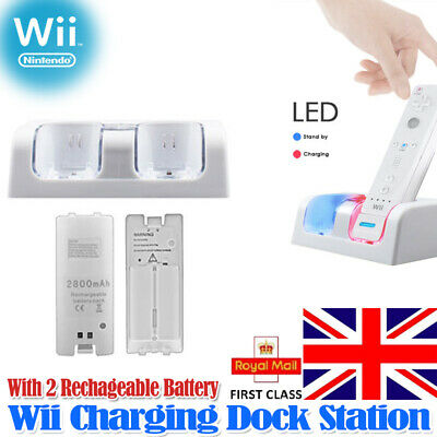 Dual Remote Charging Dock Station and 2 Rechargeable Batteries For Wii White HOT