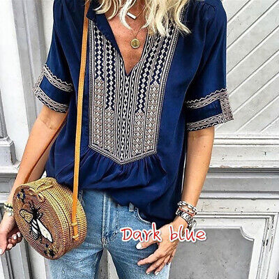 Women Bohemian V-neck Sexy Half Sleeve T-shirt Loose Casual Striped Print Blouse