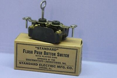 NEW Vintage Standard 3-Way Bakelite Push Button Switch - Keyed Lock - Security