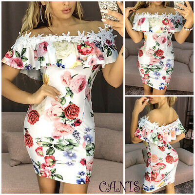 557e96d13174c Women's Sexy Bodycon Floral Printed Evening Party Cocktail Club Short Mini  Dress