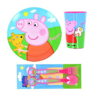 4 Piece Peppa Pig Cutlery Set,Plate,Tumbler,Fork Spoon For Children
