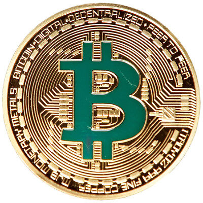 BTC Bitcoin Green Cryptocurrency Virtual Currency Gold Plated Coin