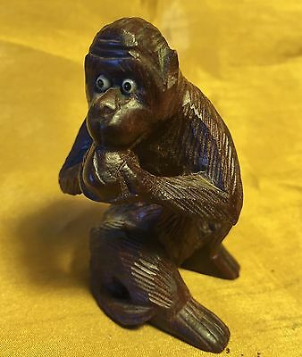 "Vtg 2.5"" Chinese Hand Carved Boxwood Wood Eating MONKEY Figure w Glass Bead Eyes"