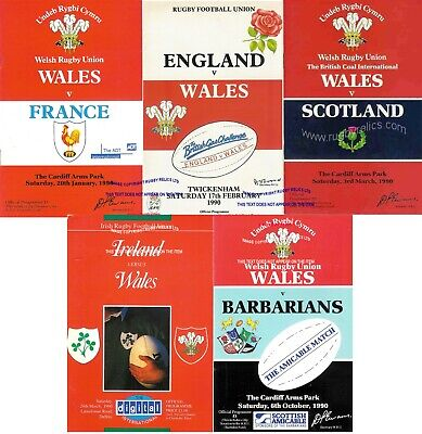 1990 Wales Five Nations Programme Set England Scot Ireland France + Barbarians
