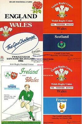 1986 Wales Five Nations Programme Set England Scotland Ireland France