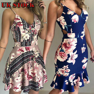 Floral-Women-Sleeveless-Bandage-Bodycon-Evening-Party-Cocktail-Club-Mini-Dress