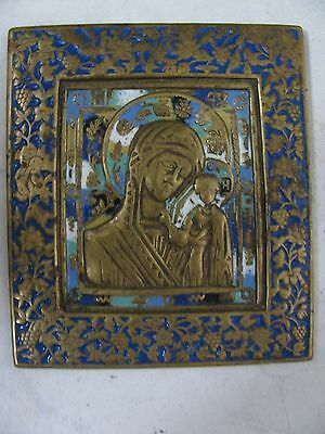 antique RUSSIAN BRASS ICON MOTHER OF GOD KAZAN RUSSIA 6 coloured enamel 19 ct
