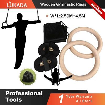 Wooden Gymnastic Olympic Rings Fitness Training Exercise Cam Buckle Straps