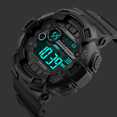 SKMEI Men's Black Style Military Digital LED Alarm Chrono Shock Sports Watches
