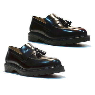 2403c5485ec Grinders Cuthbert Mens Shoes MOD Skinhead Tassel Penny Loafers Black Oxblood