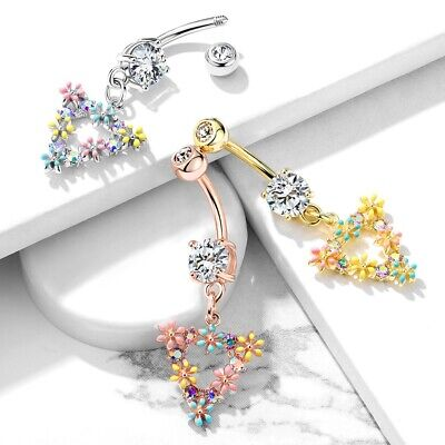 Triangle Flower Dangle Belly Button Ring Navel Piercing Body Jewelry 14g 3 8