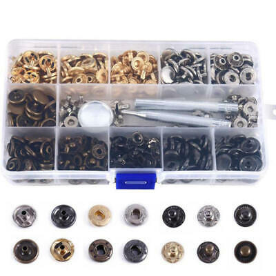 100pcs Heavy Duty Snap Fasteners 12.5mm Press Studs Kit Buttons Clothing Tool