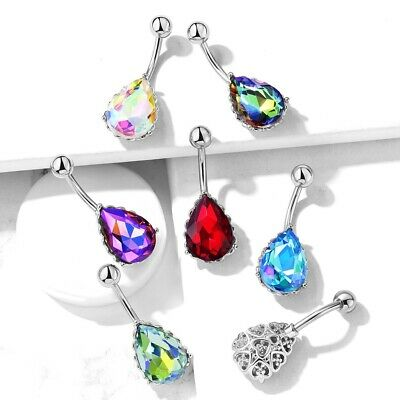 b26dc81c9 Ab Effect Teardrop Crystal Belly Ring Navel Piercing Body Jewelry (14G 3/8