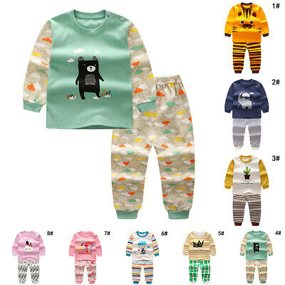 Sleepwear Outfits & Sets Boy Infant Long Sleeve Cotton Animals Kids Round Neck