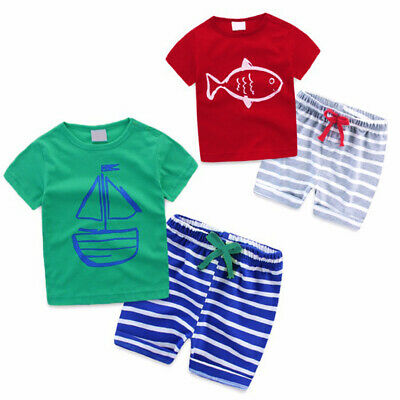 T-shirt Baby Infant Summer Pants Sleeve + Boy Kids 2pcs/set Outfit Girl Short
