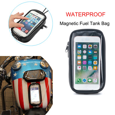 Motorcycle Magnetic Tank Bag Phone Pouch Touch screen Motorbike Gas Oil Fuel Tank Bag Universal for Street Bike Rebel Boulevard with Metal Tank