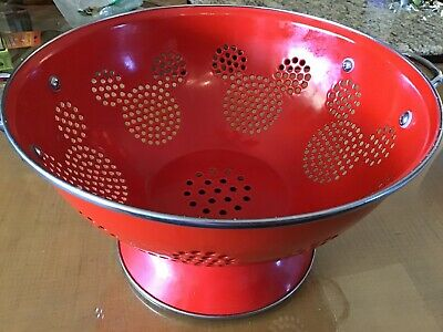 Rare Disney Mickey Mouse Icon Red Enamel Kitchen Colander Strainer Collectible