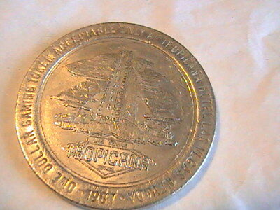 Casino $1 Gaming Token 1987 Tropicana Hotel Resort Casino Las Vegas Nevada
