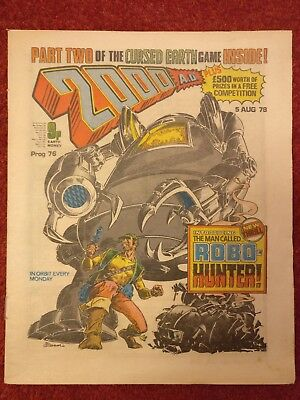 2000AD 76 1978 1ST ROBO-HUNTER CURSED EARTH GAME Excellent condition Dredd