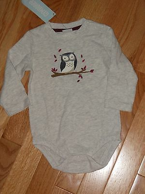 "NWT - Gymboree ""Hoot & Hop"" long sleeved grey owl shirt - 3-6 mos boys"